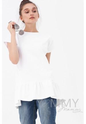 Футболка белая с воланом для беременных и кормящих (2051)