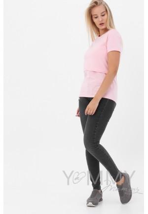 Футболка розовый меланж для беременных и кормящих (2072)