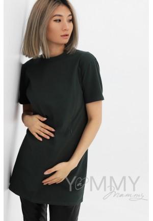 Футболка хаки с вырезом на спинке для беременных и кормящих (2078)