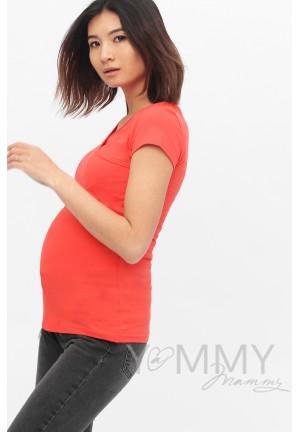 Футболка кимоно алая для беременных и кормящих (209)
