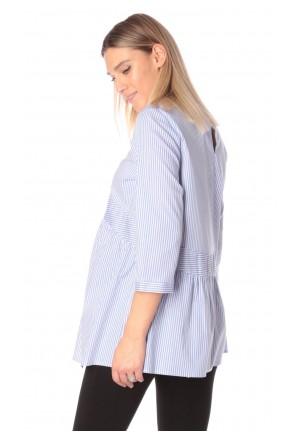 Блуза для беременных и кормящих темно-голубая (ем 8002)
