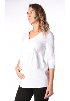 Блуза белая для беременных и кормящих (ем 8003)