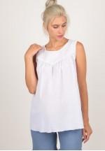 Блуза белая шитье для беременных (ем 8112)