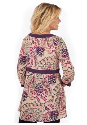 """Блуза """"Атланта"""" бежевая с цветами для беременных и кормящих"""