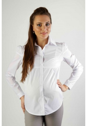 Блузка классическая белая для беременных с длинным рукавом (384 мод.)