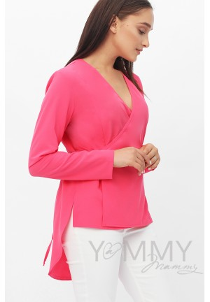 Блуза на запах фуксия для беременных и кормящих