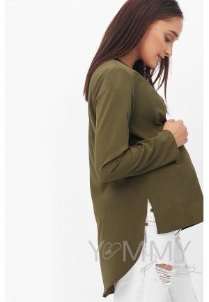 Блуза на запах хаки для беременных и кормящих