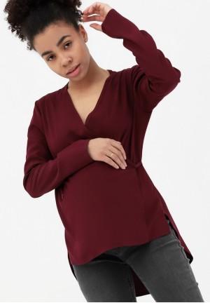 Блуза на запах бургунди для беременных и кормящих