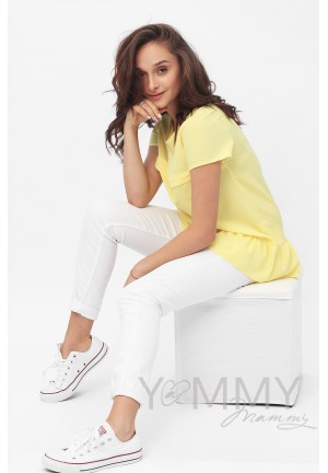 Блуза с воланом желтая для беременных и кормящих