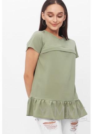 Блуза с воланом олива для беременных и кормящих
