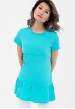Блуза с воланом бирюза для беременных и кормящих..