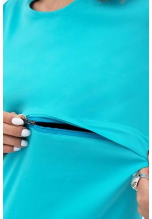 Блуза с воланом бирюза для беременных и кормящих