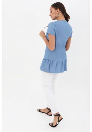 Блуза с воланом голубая джинс для беременных и кормящих