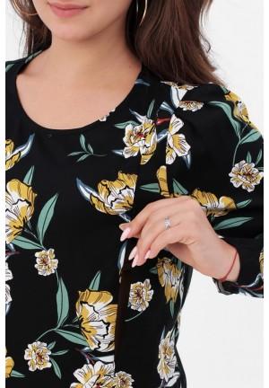 Блуза черная/цветы для беременных и кормящих