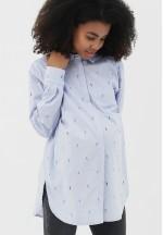 Рубашка голубая/попугаи для беременных и кормящих (2096)..