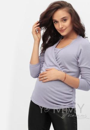 Блуза с защипами лаванда для беременных и кормящих
