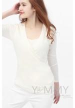 Блуза с защипами экрю для беременных и кормящих..