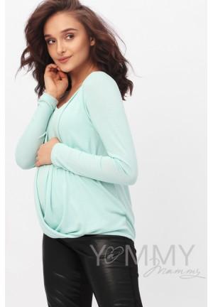 Блуза на запах ментол для беременных и кормящих