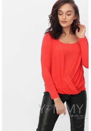 Блуза на запах красный мак для беременных и кормящих