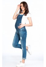 Комбинезон джинсовый для беременных синий с рванкой (7089)..