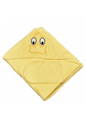Комплект для купания (полотенце-уголок 100*100 с вышивкой + рукавичка) желтый