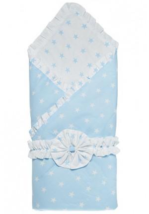 """Конверт-одеяло на выписку с бантом """"Звездочки"""" белый/голубой, зима"""