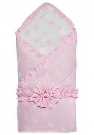 """Конверт-одеяло на выписку с бантом """"Короны"""" белый/розовый, зима"""