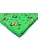 Пеленка фланелевая 90х120 зеленая с мишками (FE 1243)..