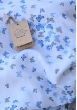 Пеленка детская муслин Крошечке (бабочки серые и голубые) 80*95..