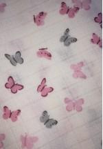 Пеленка детская муслин Крошечке (бабочки серые и розовые) 80*95..