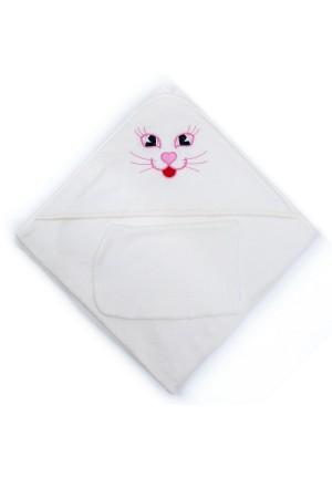 Комплект для купания (полотенце-уголок 100*100 с вышивкой + рукавичка) молочный