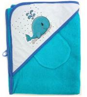 Комплект для купания (полотенце-уголок 100*100 с рисунком + рукавичка) голубой