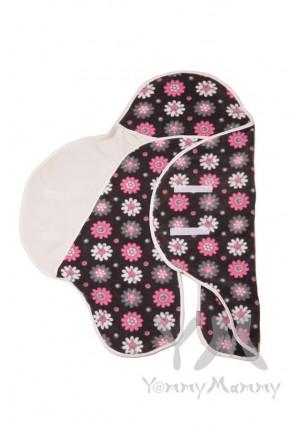 Конверт-кармашек из флиса серый/розовые цветы