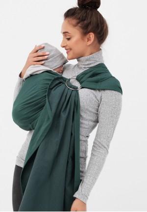 Слинг с кольцами из шарфовой ткани (изумрудный/темно-серый) (550)