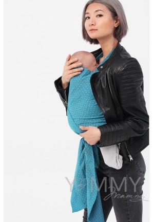 Май-слинг из шарфовой ткани Blue Biryuza (бирюзовый/темно-серый) (552)
