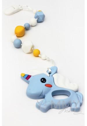 Брелок-грызунок силиконовый Единорог голубой/желтый/белый