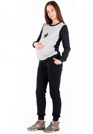 Брюки спортивные черные из футера для беременных