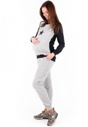 Брюки спортивные серый меланж непи из футера для беременных