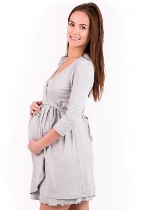 """Халат """"Лили"""" серый меланж для беременных и кормящих (вискоза)"""