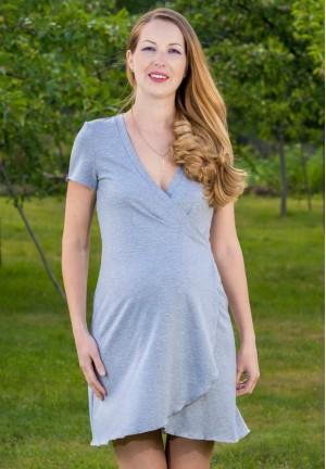 """Халат """"Наоми"""" серый меланж для беременных и кормящих с коротким рукавом"""