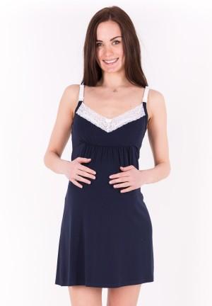 """Сорочка """"Наоми"""" темно-синяя для беременных и кормящих"""