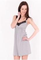 """Сорочка """"Наоми"""" серый меланж с черным для беременных и кормящих"""