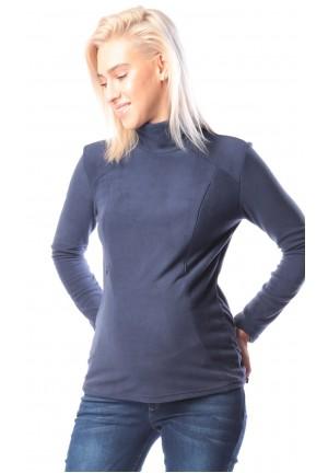 Джемпер флисовый синий для беременных и кормящих (ем 8601)