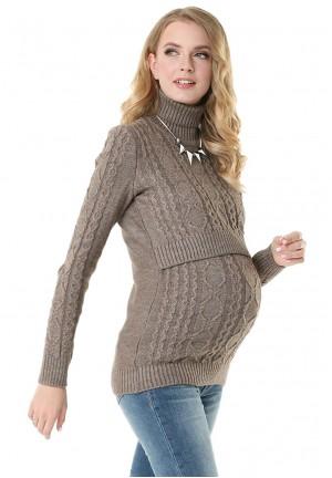 """Джемпер """"Миранда"""" кофейный для беременных и кормящих"""