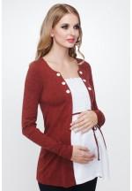 Кофта-обманка 2в1 терракот/белый для беременных (471.2083.83)..