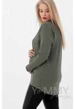 Лонгслив хаки для беременных и кормящих..