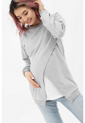 Джемпер на запах серый меланж/экрю для беременных и кормящих