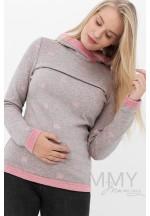 Толстовка с капюшоном серый меланж/розовый/короны для беременных и кор..