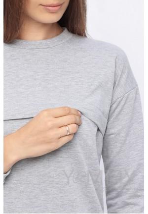 Джемпер с удлиненной спинкой серый меланж для беременных и кормящих