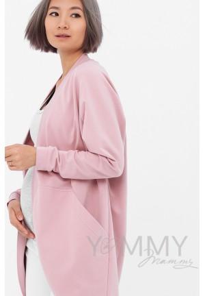 Жакет с карманами розовый для беременных и кормящих (515)